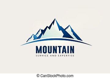 grand, montagne, logo, crêtes, horizon.