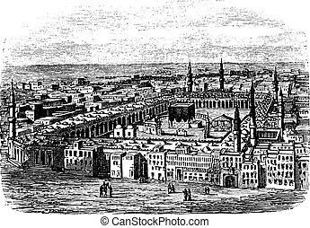 Grand Mosque in Mecca, vintage engraving - Grand Mosque in...