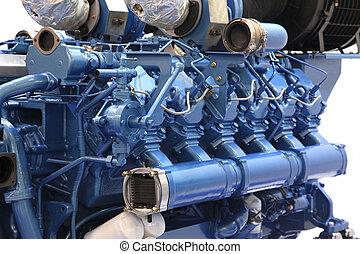 grand, moteur, diesel