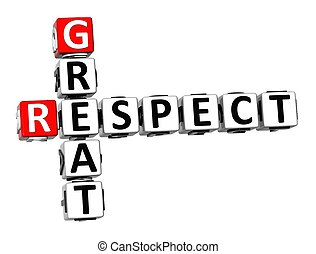 grand, mots croisés, fond, respect, blanc, 3d