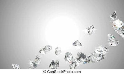 grand, mouvement, lent, couler, diamants