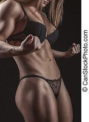 grand, muscles., sports, culturiste, girl, torse