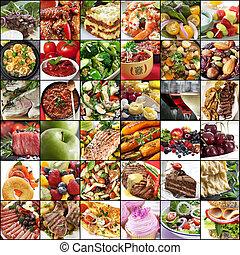 grand, nourriture, collage