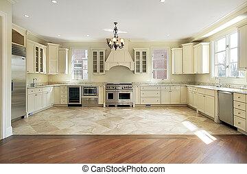 grand, nouveau, construction, luxe, cuisine