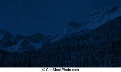 grand, nuit, chute neige, gamme, montagne