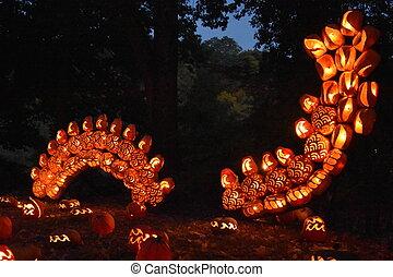 grand, o'lantern, flamme, cric, croton-on-hudson