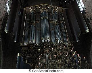 Grand old organ in Dutch church - 17th century organ of the...