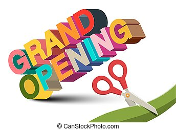 Grand Opening 3D Colorful Vector Title with Scissors on White Background