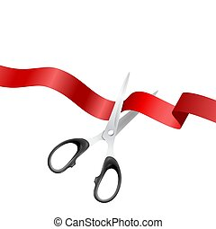 Grand Opening Background with Realistic Metal Silver Scissors and Red Ribbon Closeup Isolated on White Background. Design Template of Classic Scissors Cutting Red Ribbon Banner for Opening Ceremony
