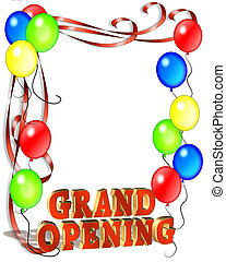 Illustration composition for Grand Opening Celebration template, poster or announcement with copy space and 3D text.