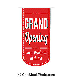 Grand opening banner design over a white background, vector...
