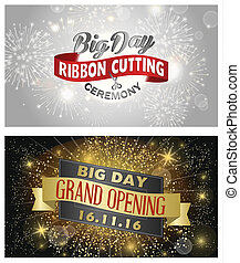 Grand opening banner design raster illustration - Grand...