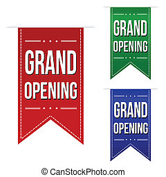 Grand opening banner design set over a white background,...