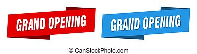 grand opening banner. grand opening ribbon label sign set