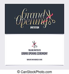 Grand opening banner vector invitation