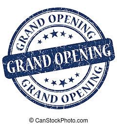 grand opening blue grunge stamp