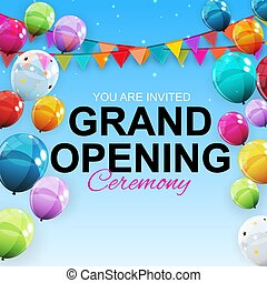 Grand Opening Card with Balloons Background. Vector Illustration