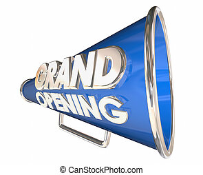 Grand Opening Celebration Event Bullhorn Megaphone 3d Illustration