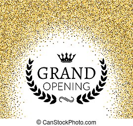 Grand Opening ceremony background. Golden dust particles