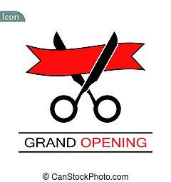 Grand opening ceremony, isolated illustration. Black...