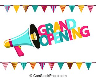 Grand Opening Colorful Text with Megaphone and Flags. Vector Flat Design Symbol on White Background.