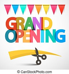 Grand Opening Colorful Vector Title with Scissors, Ribbon and Flags