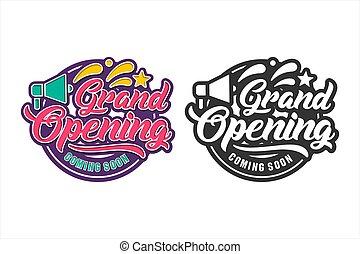 Grand opening coming soon design logo