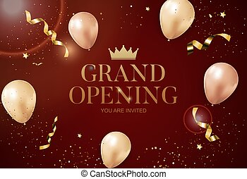 Grand Opening congratulation background card with balloons. Vector Illustration