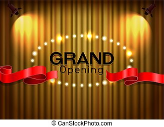 Grand opening cutting red ribbon on curtain with spot light background