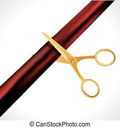 Grand Opening design template with ribbon and scissors. Grand open ribbon cut concept isolated.