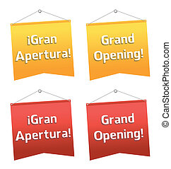 grand opening hanging banners, Spanish and English