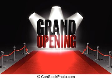 Grand opening event banner - Red carpet between two barriers...