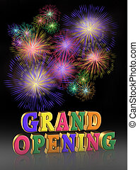 Grand Opening Fireworks - Illustration composition for Grand...