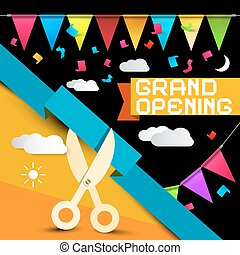 Grand Opening - Flags with Confetti - Scissors Cutting ...