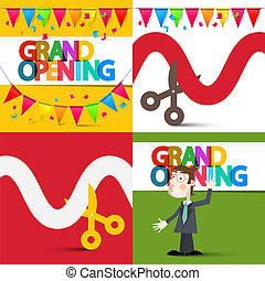 Grand Opening Flat Design Illustrations Set with Colorful Flags, Businessman, Ribbon and Scissors