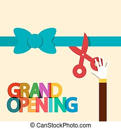 Grand Opening Flat Design Retro Vector Illustration