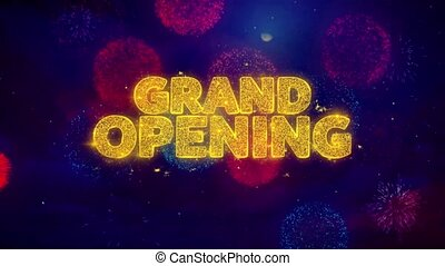 Grand Opening Greeting Text Sparkle Particles on Colored...