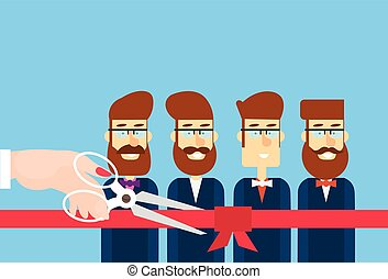 Grand Opening Hand With Scissors Cut Red Ribbon Bow Business Team Staff Presentation