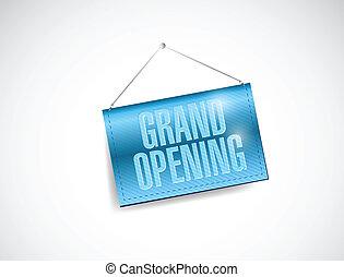 grand opening hanging banner illustration design