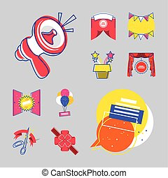 grand opening icons set