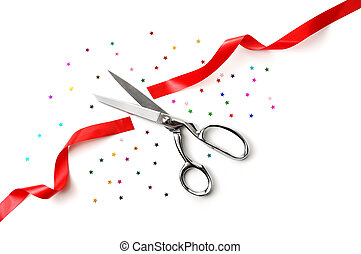Grand Opening illustrated with a scissors, a red ribbon and ...