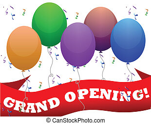 Illustration of an official grand opening with ribbon cutting, balloons and confetti...eps file available for editing