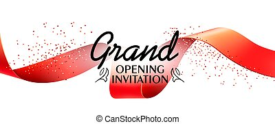 Grand opening invitation banner design with red ribbon