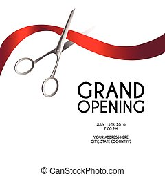 Grand opening poster mock-up with silver scissors cutting red ribbon isolated on white background, design announcement template.