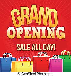 Grand opening poster - Grand opening design template with...