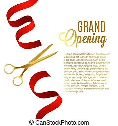 Grand opening poster with gold scissors cutting red ribbon and text template
