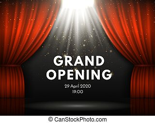 Grand opening poster with red curtains at theater stage. Theater curtain, gold sparks and spotlight beam on dramatic scene vector