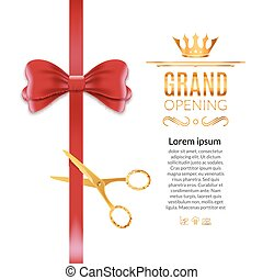 Grand Opening red ribbon and bow. Open ceremony scissor ribbon cut background