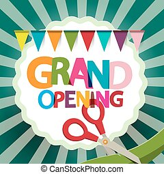 Grand Opening Retro Illustration with Flags and Scissors on Retro Green Background