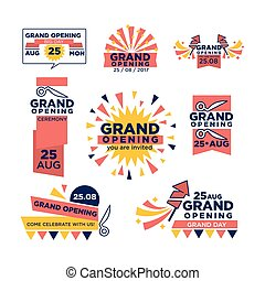 Grand opening ribbon band vector icons for celebration or open shopping